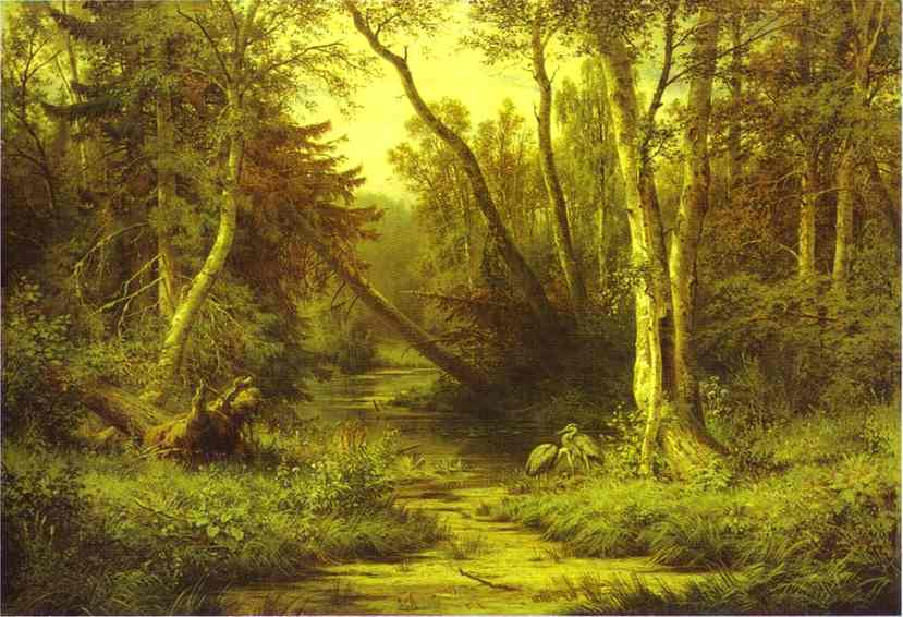 Forest Landscape With Herons 1870 | Ivan Shishkin | Oil Painting