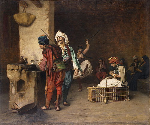 Cafe House Cairo (Casting Bullets) probably 1870s | Jean Len Geee | Oil Painting