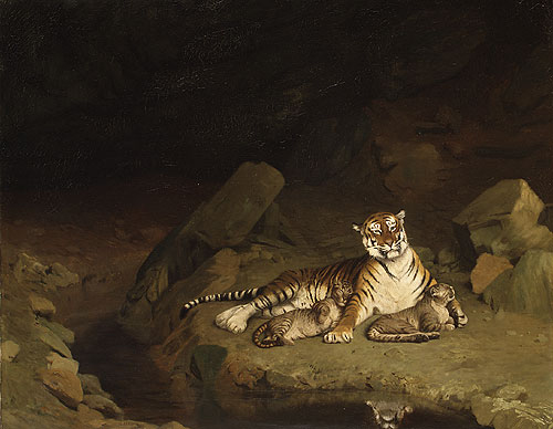 Tiger and Cubs ca. 1884 | Jean Len Geee | Oil Painting