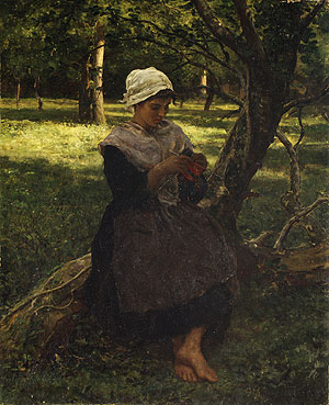 A Peasant Girl Knitting 1873 | Jules Breton | Oil Painting