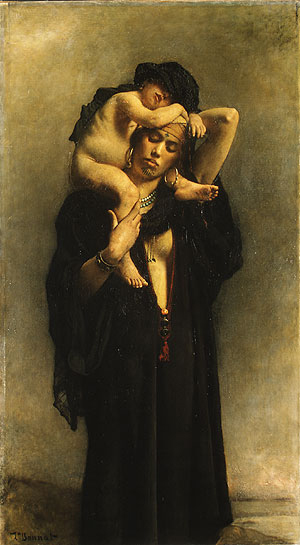 An Egyptian Peasant Woman and Her Child | Len Bonnat | Oil Painting