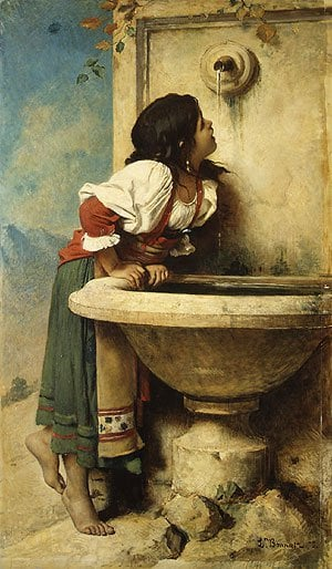 Roman Girl at a Fountain 1875 | Len Bonnat | Oil Painting