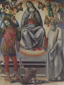 The Assumption of the Virgin with Saints Michael and Benedict altarpiece late 1480s | Luca Signorelli and Workshop | Oil Painting
