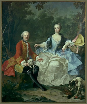 Count Giacomo Durazzo in the Guise of a Huntsman with His Wife probably early 1760s | Martin van Meytens the Younger | Oil Painting