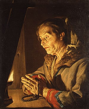 Old Woman Praying | Matthias Stom | Oil Painting