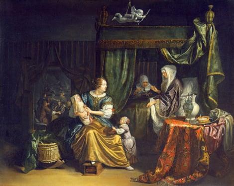 The Newborn Baby 1675   Matthys Naiveu   Oil Painting