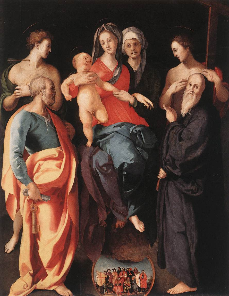 Madonna And Child With St Anne And Other Saints 1529 | Jacopo Pontormo | Oil Painting