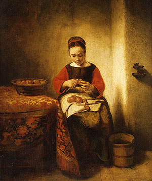 Young Girl Peeling Apples ca 1655 | Nicolaes Maes | Oil Painting