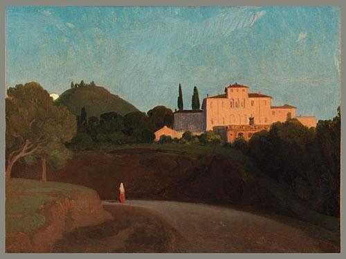 View of the Villa Torlonia Frascati at Dusk | Paul Flandrin | Oil Painting