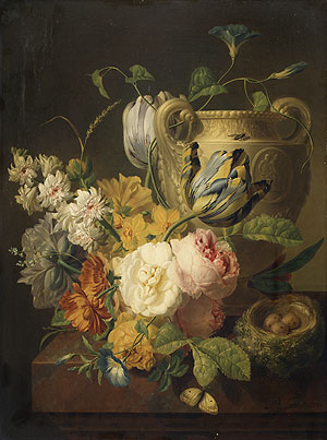 Flowers by a Stone Vase 1786 | Peter Faes | Oil Painting