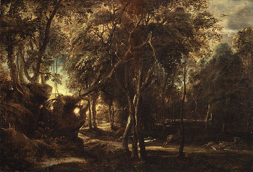 A Forest at Dawn with a Deer Hunt ca 1635 | Peter Paul Rubens | Oil Painting