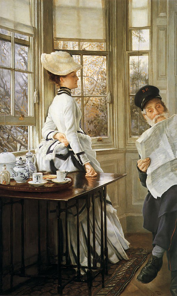 Reading the News | Jacques Joseph Tissot | Oil Painting