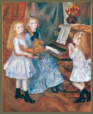 The Daughters of Catulle Mende Hughette Claudine and Helyonne 1888 | Pierre Auguste Renoir | Oil Painting