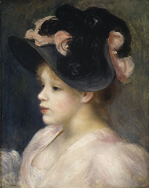 Young Girl in a Pink and Black Hat 1890s | Pierre Auguste Renoir | Oil Painting
