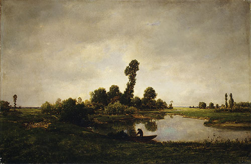 A River Landscape | Pierre etienne Thedore Rousseau | Oil Painting