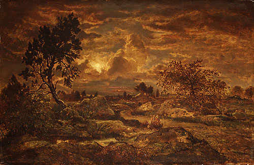 Sunset near Arbonne ca 1860 | Pierre etienne Thedore Rousseau | Oil Painting