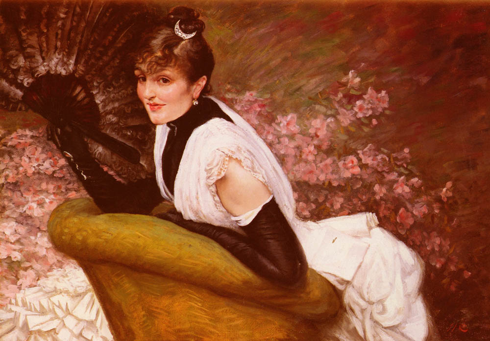 Portrait De Femme A L-Eventail | Jacques Joseph Tissot | Oil Painting