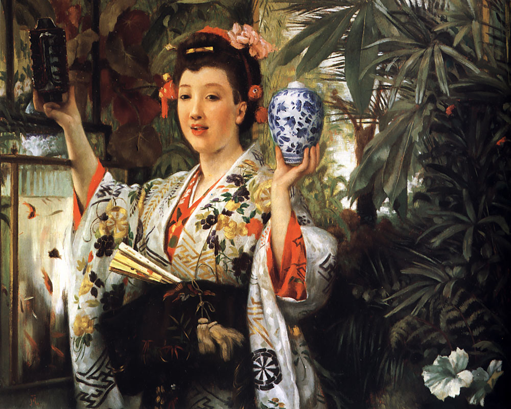 Young Lady Holding Japanese Objects | Jacques Joseph Tissot | Oil Painting