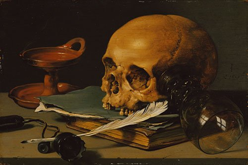 Still Life with a Skull and a Writing Quill 1628 | Pieter Claesz | Oil Painting