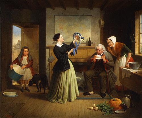 The New Bonnet 1858 | Francis W Edmonds | Oil Painting