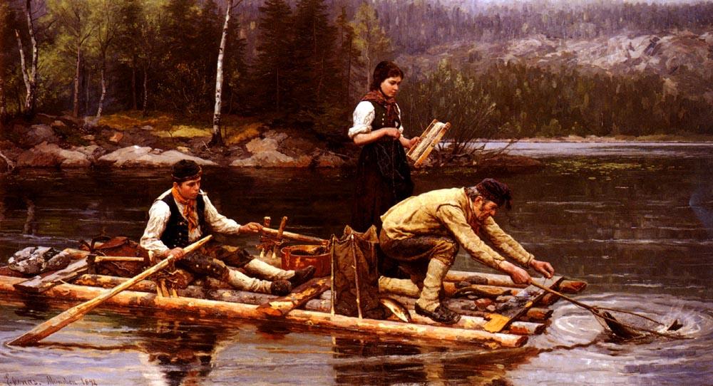 Fischfang Am Flusse | Jahn Ekenaes | Oil Painting