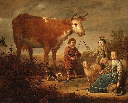 Children and a Cow | Style of Aelbert Cuyp | Oil Painting