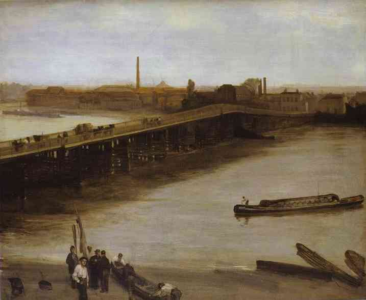 Brown And Silver Old Battersea Bridge 1859-65 | James Abbott McNeill Whistler | Oil Painting