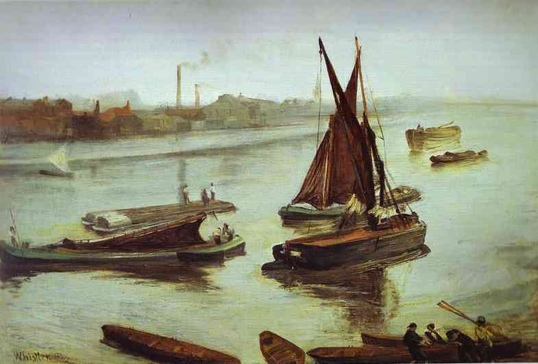 Grey And Silver Old Battersea Beach 1863 | James Abbott McNeill Whistler | Oil Painting