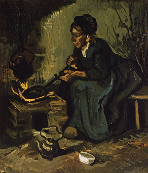 Peasant Woman Cooking by a Fireplace 1885 | Vincent van Gogh | Oil Painting
