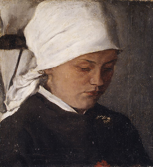 Peasant Girl with a White Headcloth 1885 | Wilhelm Leibl | Oil Painting