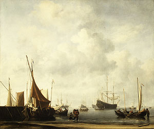 Entrance to a Dutch Port ca 1665 | Willem van de Velde the Younger | Oil Painting
