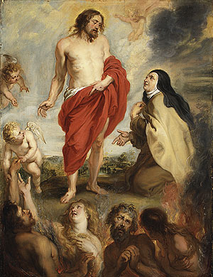Saint Teresa of Interceding for Souls in Purgatory   Workshop of Peter Paul Rubens   Oil Painting