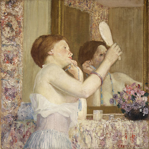 Woman with a Mirror (Femme qui se mire) 1911 | Frederick Carl Frieseke | Oil Painting