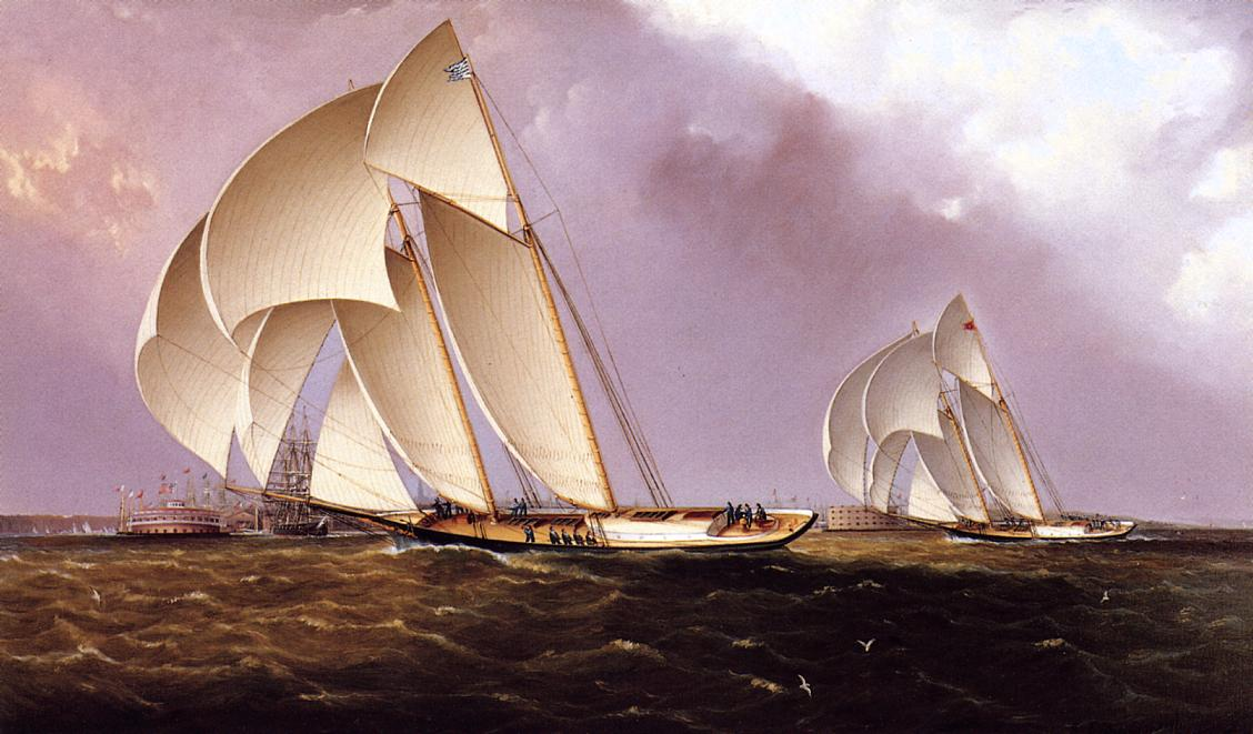 America's Cup Class Yachts Racing in New York Harbor 1855 | James Buttersworth | Oil Painting