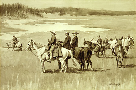 Burgess Finding a Ford (illustration from Frederic Remington's Pony Tracks 1895) | Frederic Remington | Oil Painting