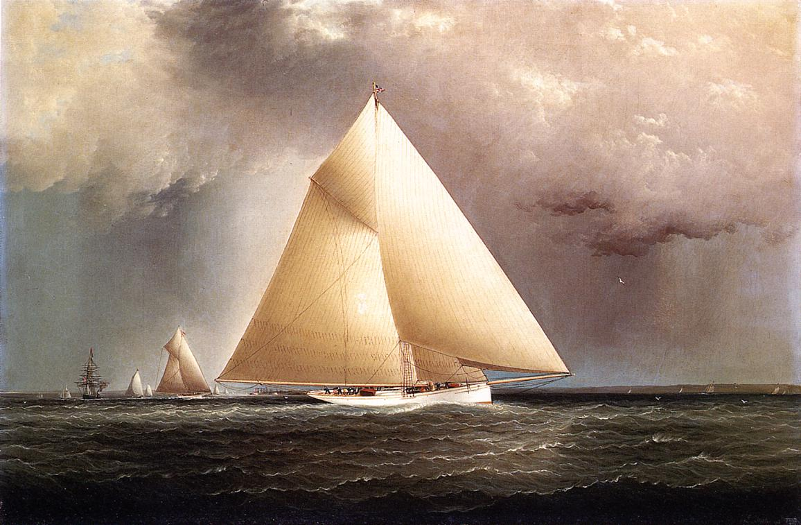 Gracie Vision and Cornelia rounding Sandy Hook in the New York Yacht Club Regatta of June 11 1874 1874 | James Buttersworth | Oil Painting
