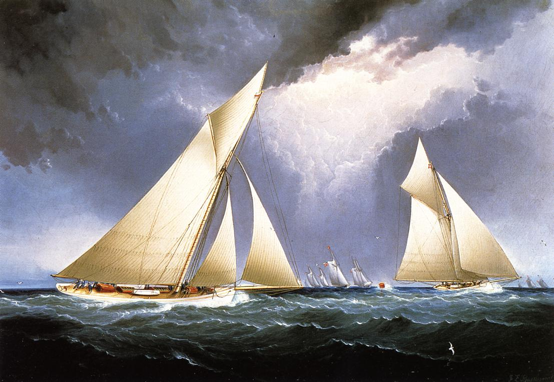 Mayflower Leading Puritan America's Cup Trial Race 1886 1886 | James Buttersworth | Oil Painting
