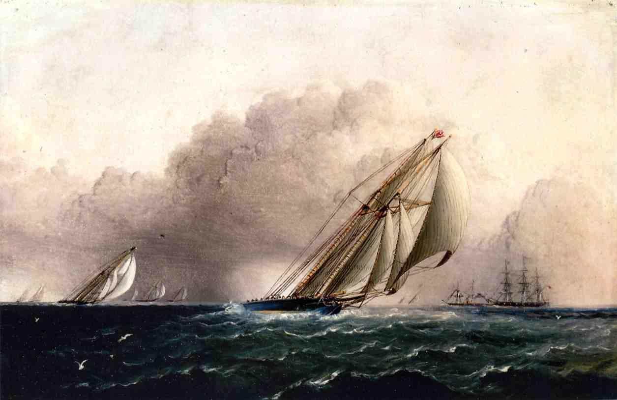 N.Y.Y.C. Schooner Yacht Estelle Running Home 1880 | James Buttersworth | Oil Painting