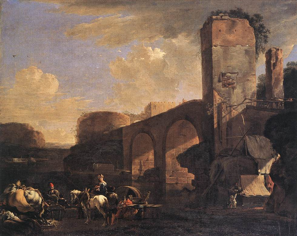 Italian Landscape With A River And An Arched Bridge 1648   Jan Asselyn   Oil Painting