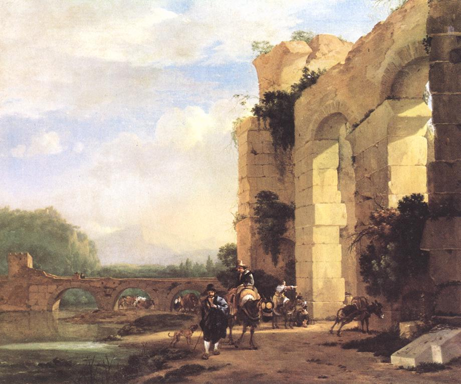 Italian Landscape With The Ruins Of A Roman Bridge And Aqueduct | Jan Asselyn | Oil Painting