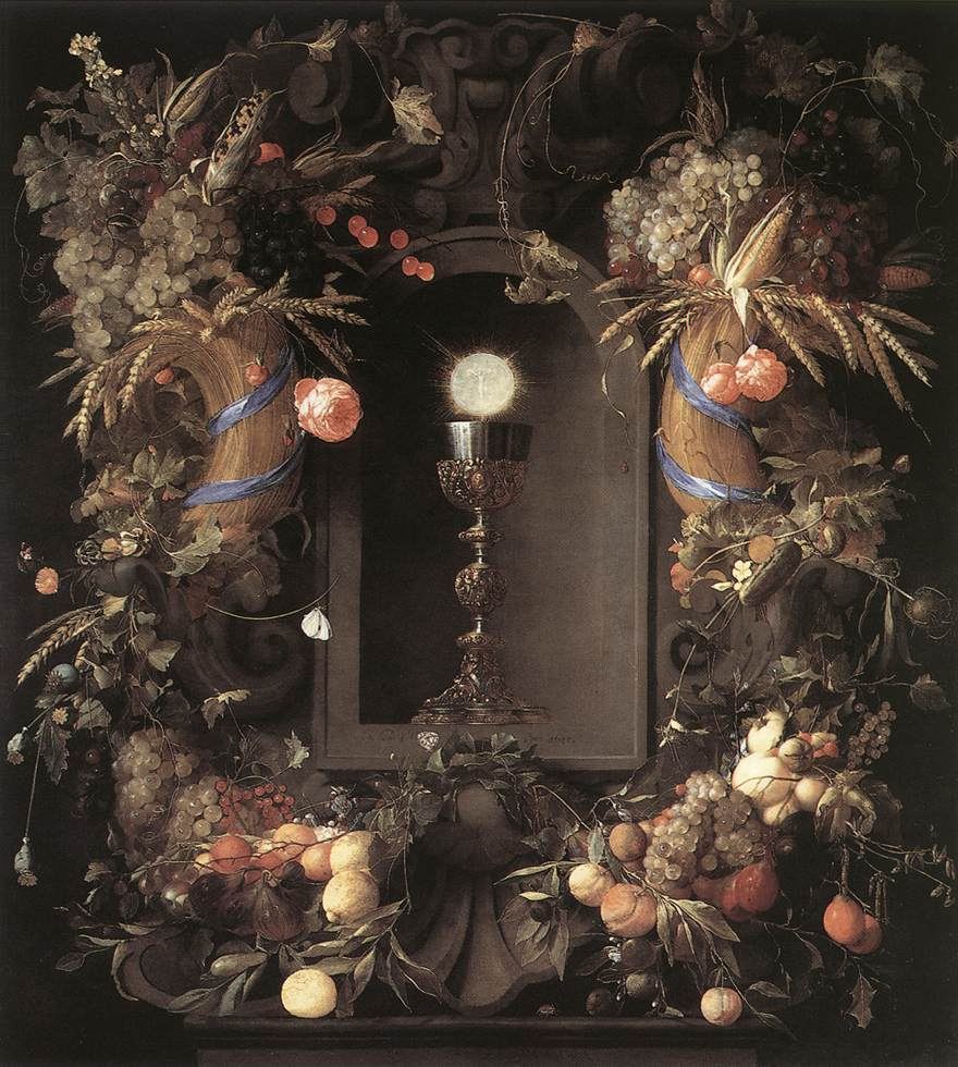 Eucharist In Fruit Wreath 1648 | Jan Davidsz De Heem | Oil Painting