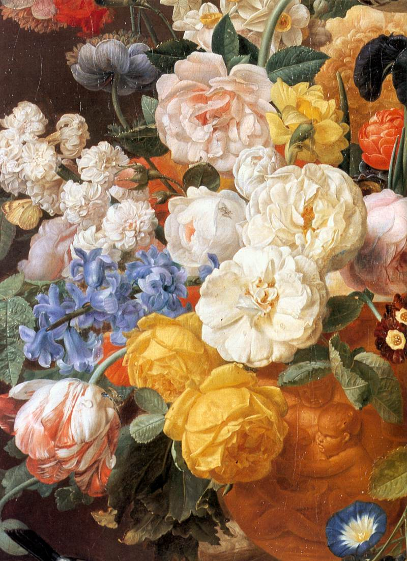 Bouquet Of Flowers In A Sculpted Vase (Detail-1) | Jan Frans Eliaerts | Oil Painting