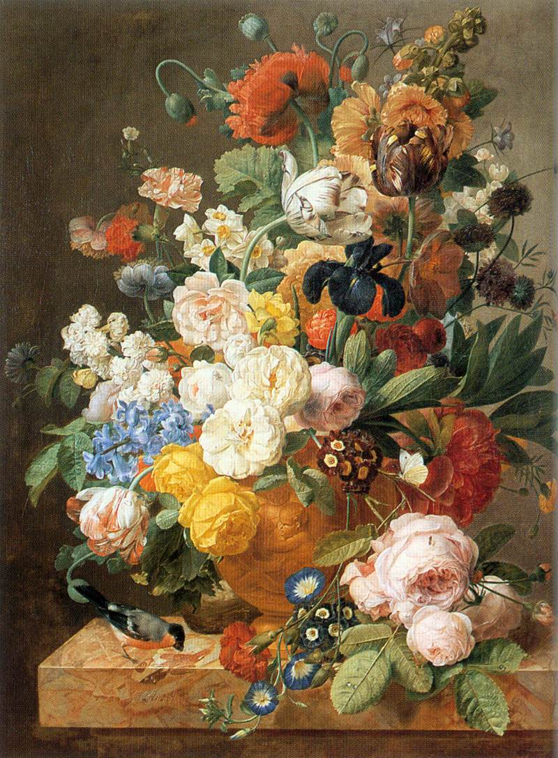 Bouquet Of Flowers In A Sculpted Vase | Jan Frans Eliaerts | Oil Painting