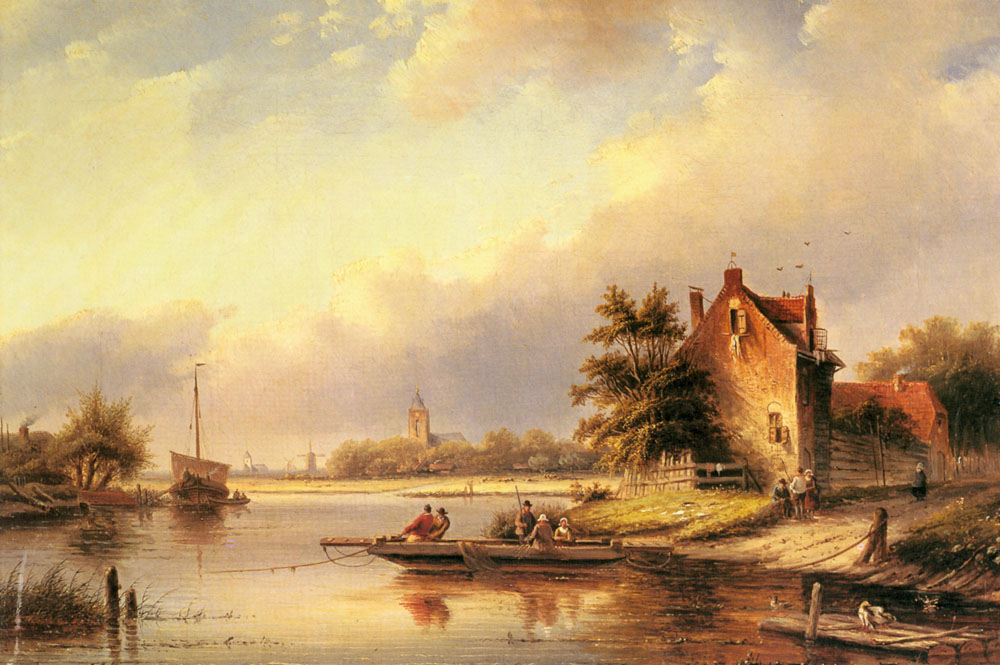 A Summers Day At The Ferry Crossing | Jan Jacob Coenraad Spohler | Oil Painting