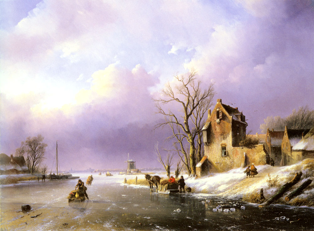 Jacob Winter landscape With Figures On A Frozen | Jan Jacob Coenraad Spohler | Oil Painting