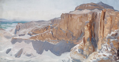 Cliffs at Deir el Bahri Egypt | John Singer Sargent | Oil Painting