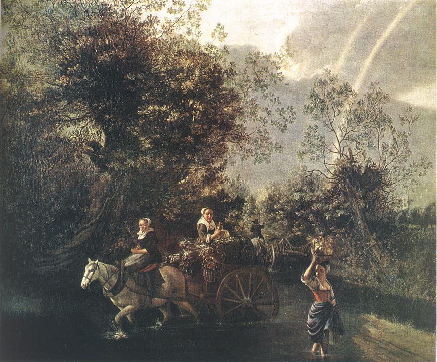 Crossing A Creek 1669   Jan Siberechts   Oil Painting