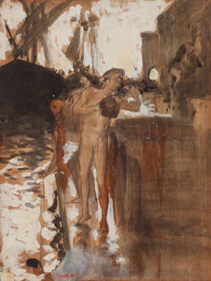 The Balcony Spain and Two Nude Bathers Standing on a Wharf | John Singer Sargent | Oil Painting