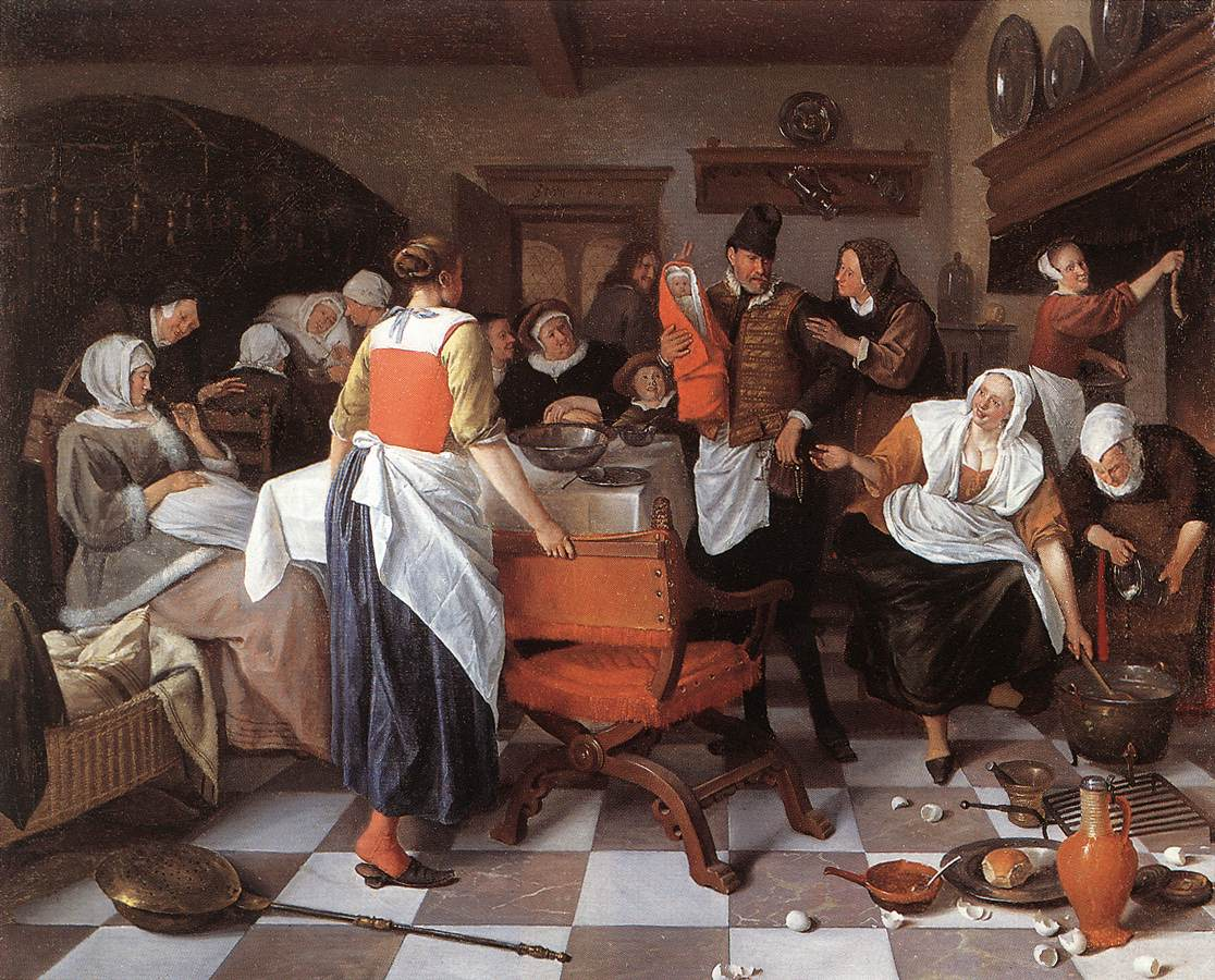 Celebrating The Birth 1664 | Jan Steen | Oil Painting