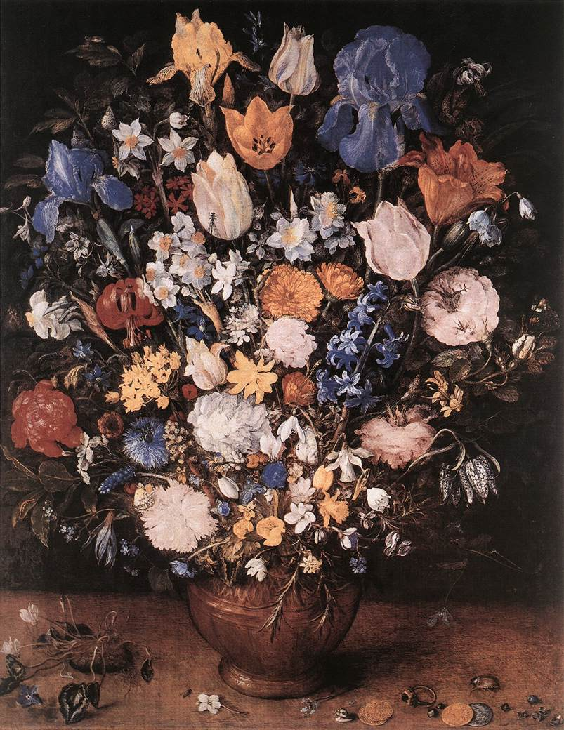 Bouquet In A Clay Vase 1599-1607 | Jan The Elder Brueghel | Oil Painting